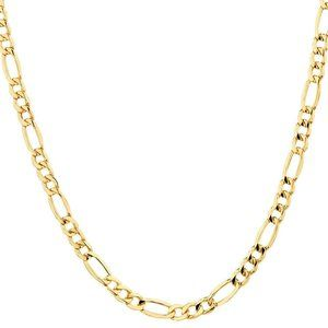 18k Gold Figaro Chain Necklace 22in Men's Women's